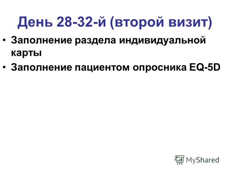 День 28-32-й (второй визит) Заполнение раздела индивидуальной карты Заполнение пациентом опросника EQ-5D