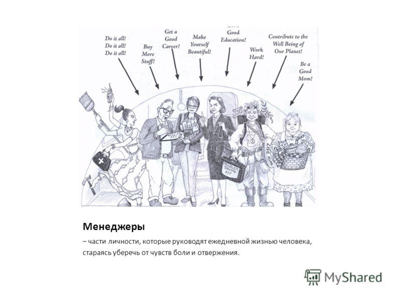 Менеджеры – части личности, которые руководят ежедневной жизнью человека, стараясь уберечь от чувств боли и отвержения.