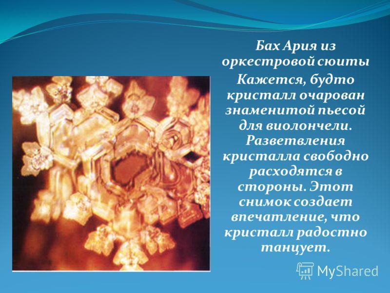 Бах Ария из оркестровой сюиты Кажется, будто кристалл очарован знаменитой пьесой для виолончели. Разветвления кристалла свободно расходятся в стороны. Этот снимок создает впечатление, что кристалл радостно танцует.