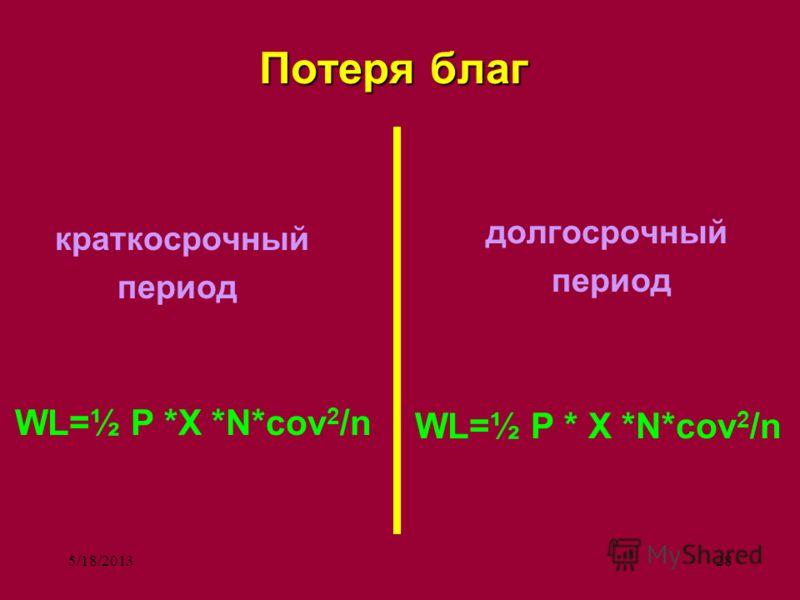 5/18/201328 Потеря благ краткосрочный период WL=½ P *X *N*cov 2 /n долгосрочный период WL=½ P * X *N*cov 2 /n