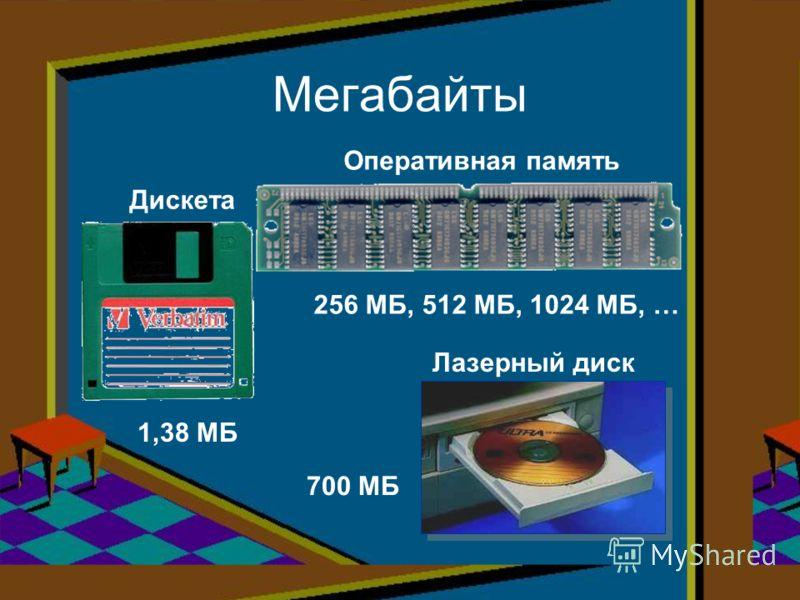 Мегабайты Дискета 1,38 МБ Оперативная память 256 МБ, 512 МБ, 1024 МБ, … Лазерный диск 700 МБ