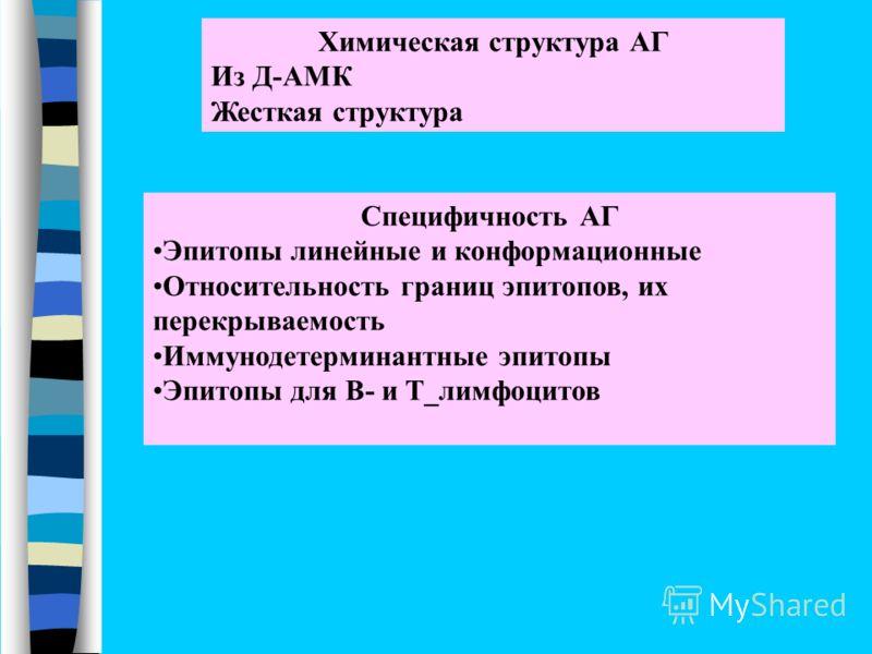 Химическая структура АГ Из Д-АМК Жесткая структура Специфичность АГ Эпитопы линейные и конформационные Относительность границ эпитопов, их перекрываемость Иммунодетерминантные эпитопы Эпитопы для В- и Т_лимфоцитов