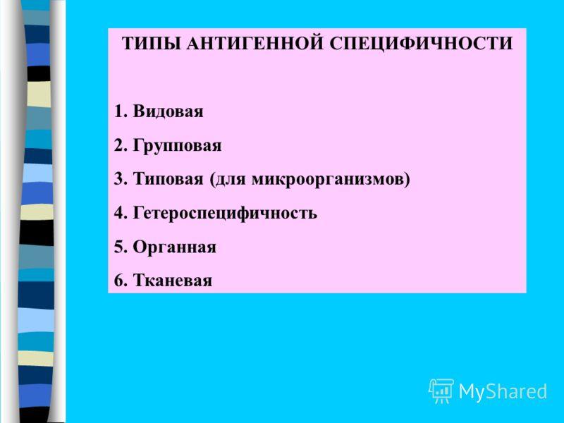ТИПЫ АНТИГЕННОЙ СПЕЦИФИЧНОСТИ 1. Видовая 2. Групповая 3. Типовая (для микроорганизмов) 4. Гетероспецифичность 5. Органная 6. Тканевая