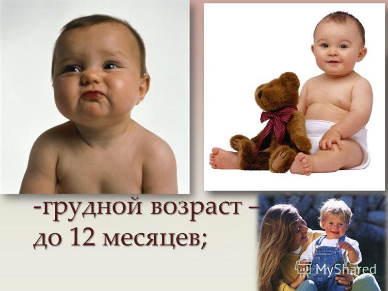 -грудной возраст – до 12 месяцев;