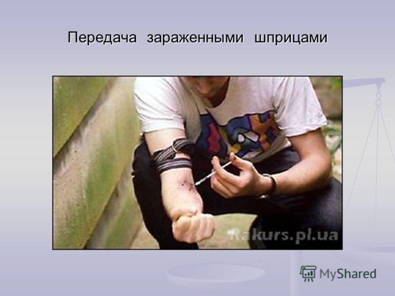 Передача зараженными шприцами