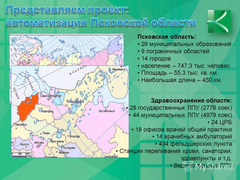 Псковская область: 26 муниципальных образований 9 пограничных областей 14 городов население – 747,3 тыс. человек Площадь – 55,3 тыс. кв. км. Наибольшая длина – 450 км. Здравоохранение области: 28 государственных ЛПУ (2778 коек) 44 муниципальных ЛПУ (