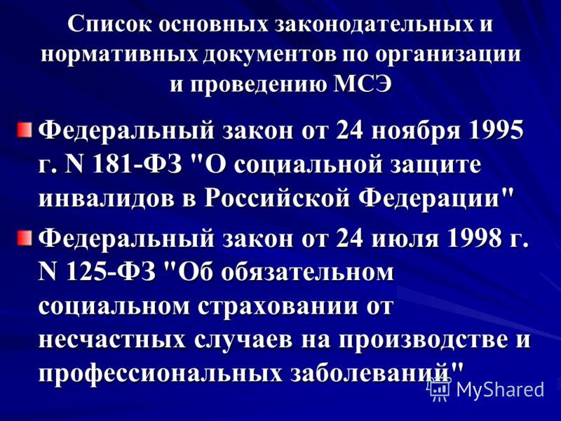 Список основных законодательных и нормативных документов по организации и проведению МСЭ Федеральный закон от 24 ноября 1995 г. N 181-ФЗ