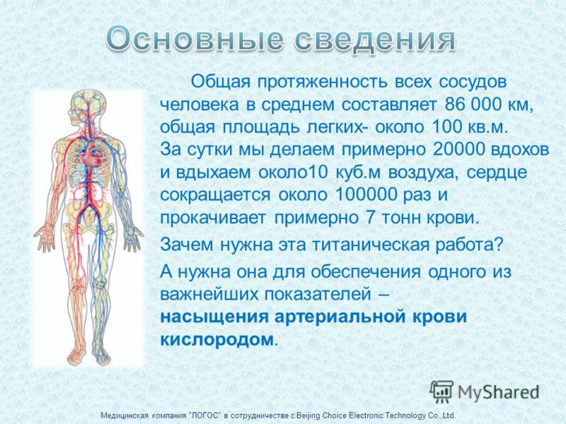 Общая протяженность всех сосудов человека в среднем составляет 86 000 км, общая площадь легких- около 100 кв.м. За сутки мы делаем примерно 20000 вдохов и вдыхаем около10 куб.м воздуха, сердце сокращается около 100000 раз и прокачивает примерно 7 тон