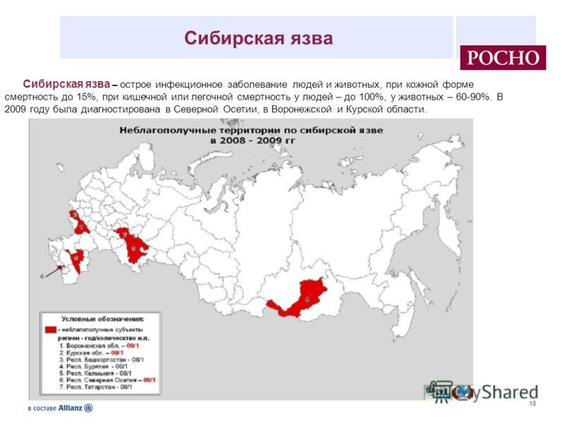 18 Сибирская язва – острое инфекционное заболевание людей и животных, при кожной форме смертность до 15%, при кишечной или легочной смертность у людей – до 100%, у животных – 60-90%. В 2009 году была диагностирована в Северной Осетии, в Воронежской и