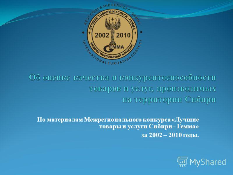 По материалам Межрегионального конкурса «Лучшие товары и услуги Сибири - Гемма» за 2002 – 2010 годы.