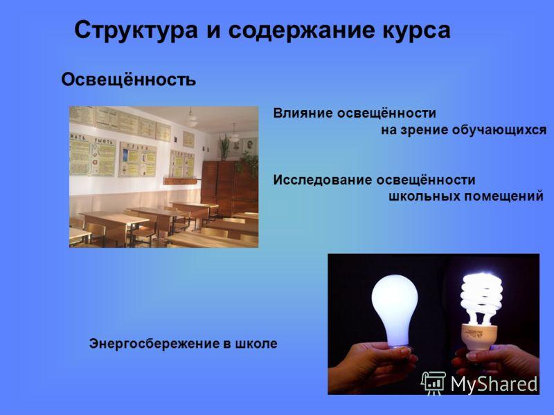 Структура и содержание курса Влияние освещённости на зрение обучающихся Исследование освещённости школьных помещений Освещённость Энергосбережение в школе