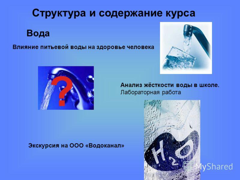 Структура и содержание курса Вода Экскурсия на ООО «Водоканал» Влияние питьевой воды на здоровье человека Анализ жёсткости воды в школе. Лабораторная работа
