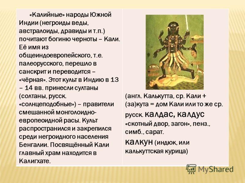 «Калийные» народы Южной Индии (негроиды веды, австралоиды, дравиды и т.п.) почитают богиню черноты – Кали. Её имя из общеиндоевропейского, т.е. палеорусского, перешло в санскрит и переводится – «чёрная». Этот культ в Индию в 13 – 14 вв. принесли султ