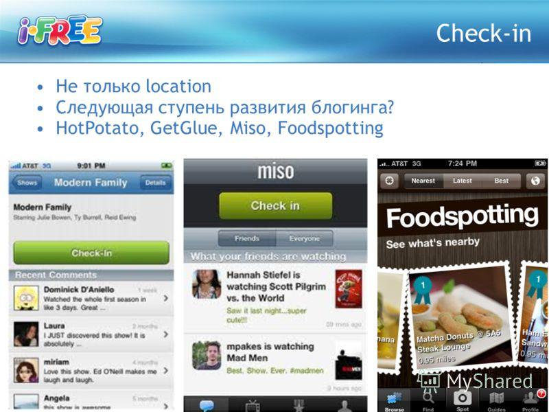 Не только location Следующая ступень развития блогинга? HotPotato, GetGlue, Miso, Foodspotting Check-in