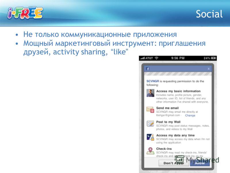Не только коммуникационные приложения Мощный маркетинговый инструмент: приглашения друзей, activity sharing, like Social