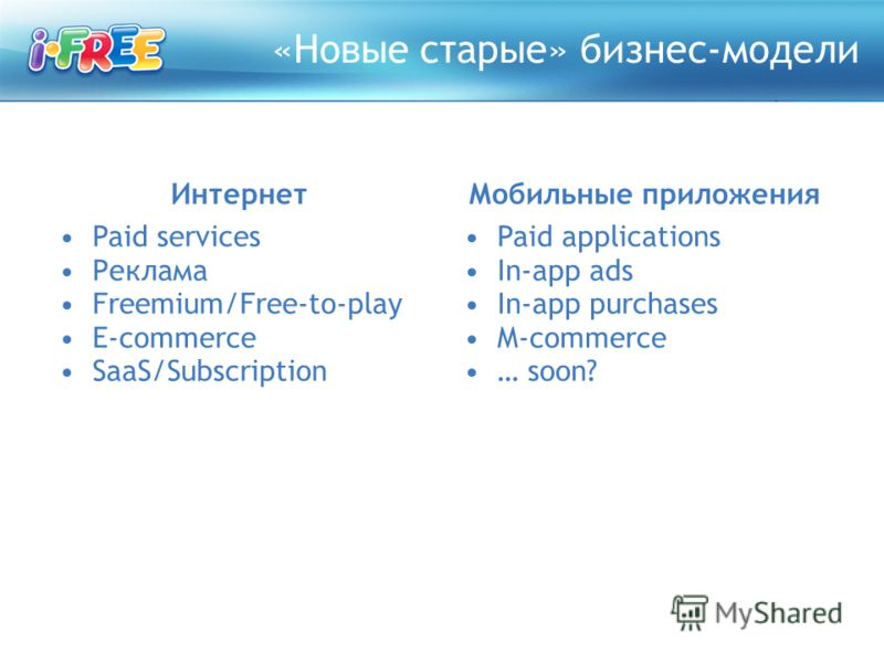 «Новые старые» бизнес-модели Интернет Paid services Реклама Freemium/Free-to-play E-commerce SaaS/Subscription Мобильные приложения Paid applications In-app ads In-app purchases M-commerce … soon?