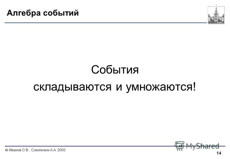 14 Иванов О.В., Соколихин А.А. 2005 Алгебра событий События складываются и умножаются!