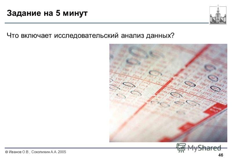46 Иванов О.В., Соколихин А.А. 2005 Задание на 5 минут Что включает исследовательский анализ данных?
