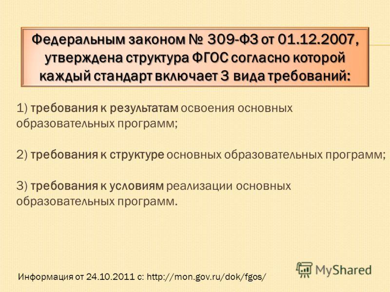 1) требования к результатам освоения основных образовательных программ; 2) требования к структуре основных образовательных программ; 3) требования к условиям реализации основных образовательных программ. Информация от 24.10.2011 с: http://mon.gov.ru/
