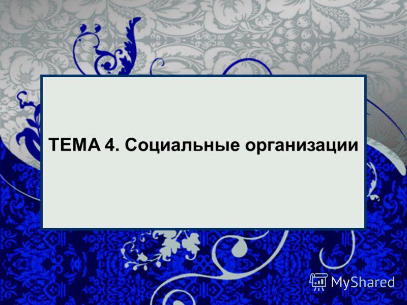 1 1 ТЕМА 4. Социальные организации