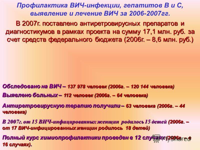 Профилактика ВИЧ-инфекции, гепатитов В и С, выявление и лечение ВИЧ за 2006-2007гг. В 2007г. поставлено антиретровирусных препаратов и диагностикумов в рамках проекта на сумму 17,1 млн. руб. за счет средств федерального бюджета (2006г. – 8,6 млн. руб