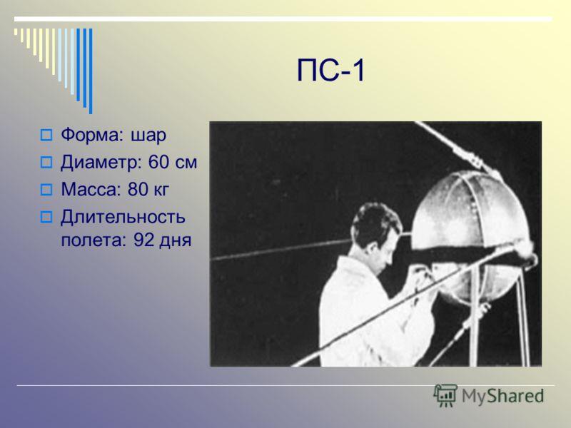 ПС-1 Форма: шар Диаметр: 60 см Масса: 80 кг Длительность полета: 92 дня