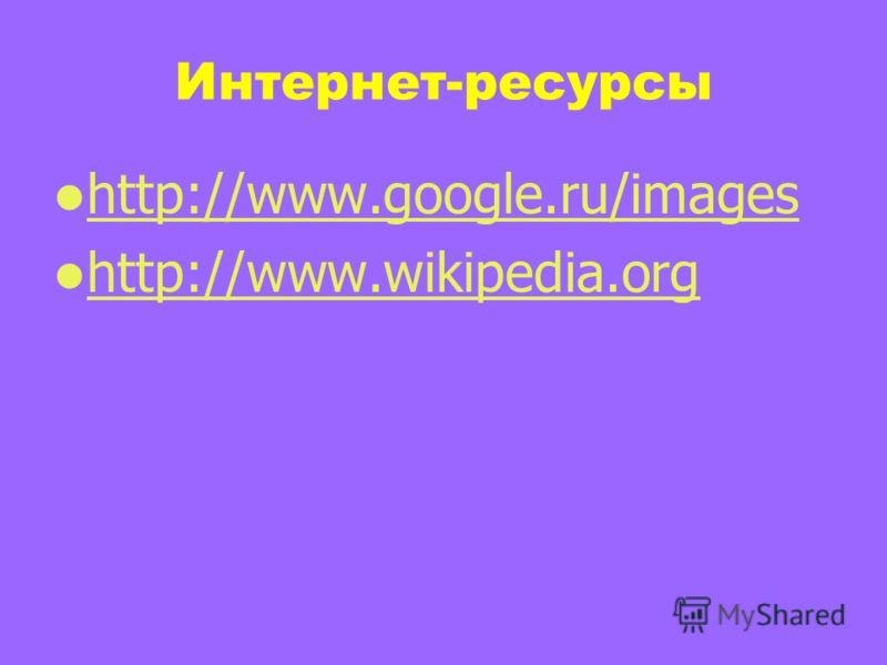 Интернет-ресурсы http://www.google.ru/images http://www.wikipedia.org