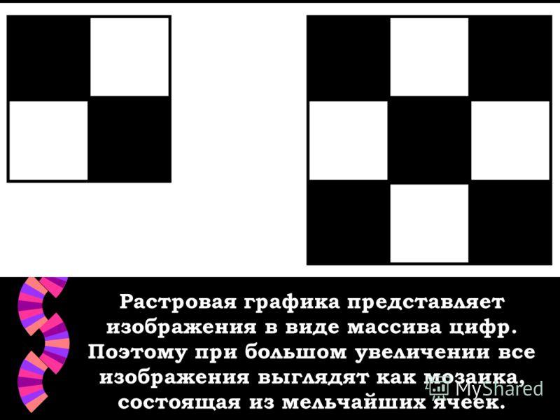 Растровая графика представляет изображения в виде массива цифр. Поэтому при большом увеличении все изображения выглядят как мозаика, состоящая из мельчайших ячеек.