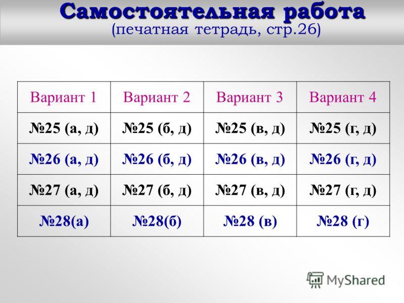 Самостоятельная работа Самостоятельная работа (печатная тетрадь, стр.26) Вариант 1Вариант 2Вариант 3Вариант 4 25 (а, д)25 (б, д)25 (в, д)25 (г, д) 26 (а, д)26 (б, д)26 (в, д)26 (г, д) 27 (а, д)27 (б, д)27 (в, д)27 (г, д) 28(а)28(б)28 (в)28 (г)