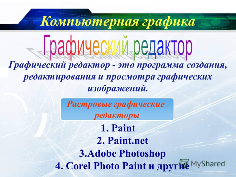 www.themegallery.com Company Logo Компьютерная графика Графический редактор - это программа создания, редактирования и просмотра графических изображений. Растровые графические редакторы 1. Paint 2. Paint.net 3.Adobe Photoshop 4. Corel Photo Paint и д