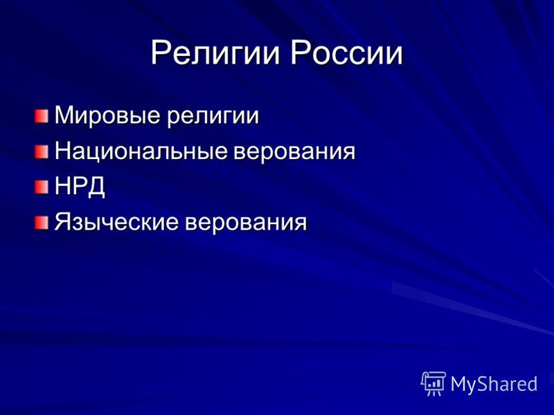 Религии России Мировые религии Национальные верования НРД Языческие верования