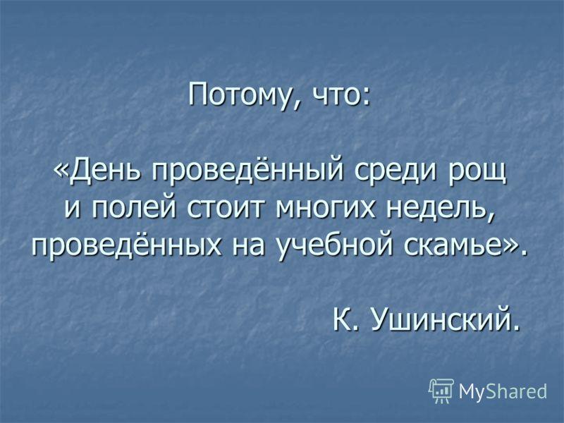 Потому, что: «День проведённый среди рощ и полей стоит многих недель, проведённых на учебной скамье». К. Ушинский.