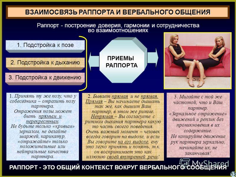 ВЗАИМОСВЯЗЬ РАППОРТА И ВЕРБАЛЬНОГО ОБЩЕНИЯ Раппорт - построение доверия, гармонии и сотрудничества во взаимоотношениях РАППОРТ - ЭТО ОБЩИЙ КОНТЕКСТ ВОКРУГ ВЕРБАЛЬНОГО СООБЩЕНИЯ 1. Подстройка к позе 2. Подстройка к дыханию 3. Подстройка к движению ПРИ