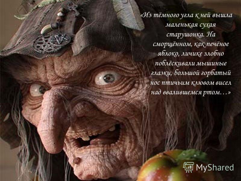 «Из тёмного угла к ней вышла маленькая сухая старушонка. На сморщённом, как печёное яблоко, личике злобно поблёскивали мышиные глазки, большой горбатый нос птичьим клювом висел над ввалившемся ртом…»