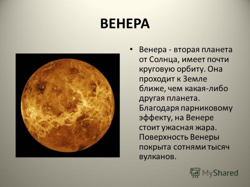 ВЕНЕРА Венера - вторая планета от Солнца, имеет почти круговую орбиту. Она проходит к Земле ближе, чем какая-либо другая планета. Благодаря парниковому эффекту, на Венере стоит ужасная жара. Поверхность Венеры покрыта сотнями тысяч вулканов.