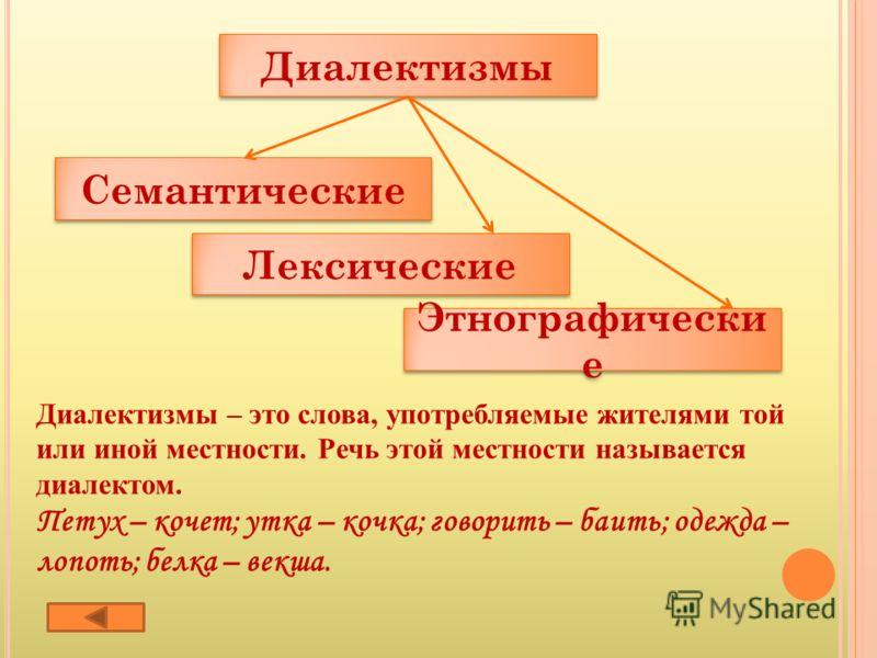 Диалектизмы Семантические Лексические Этнографически е Этнографически е Диалектизмы – это слова, употребляемые жителями той или иной местности. Речь этой местности называется диалектом. Петух – кочет; утка – кочка; говорить – баить; одежда – лопоть;