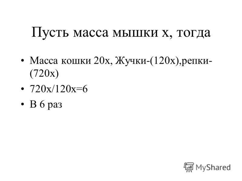 Пусть масса мышки х, тогда Масса кошки 20х, Жучки-(120х),репки- (720х) 720х/120х=6 В 6 раз