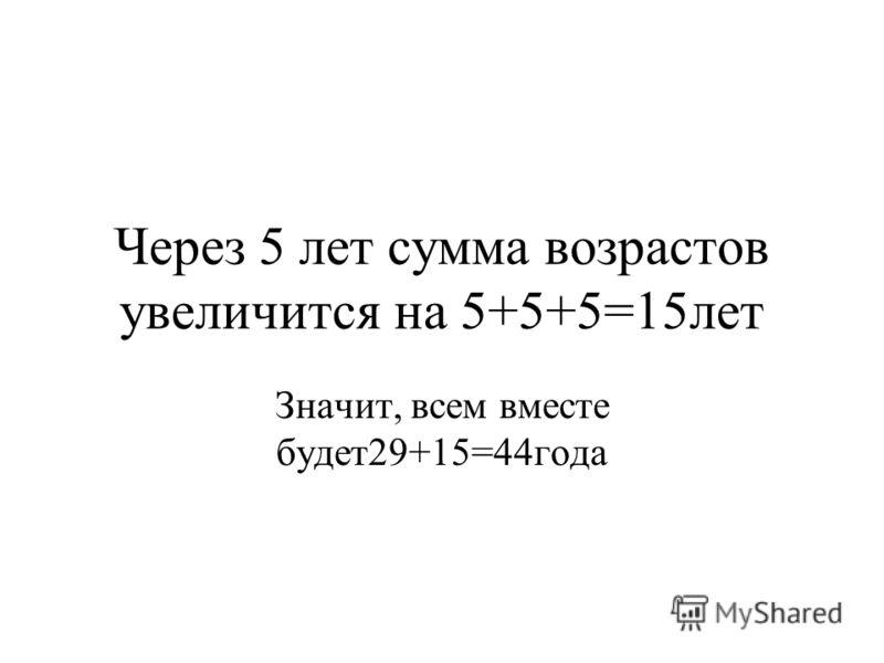 Через 5 лет сумма возрастов увеличится на 5+5+5=15лет Значит, всем вместе будет29+15=44года