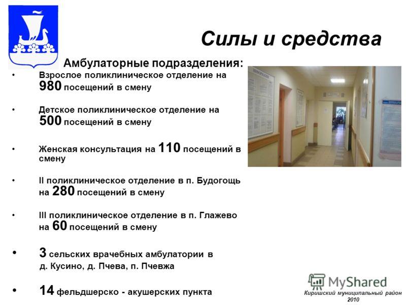 Силы и средства Амбулаторные подразделения: Взрослое поликлиническое отделение на 980 посещений в смену Детское поликлиническое отделение на 500 посещений в смену Женская консультация на 110 посещений в смену II поликлиническое отделение в п. Будогощ
