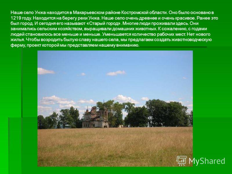 Наше село Унжа находится в Макарьевском районе Костромской области. Оно было основано в 1219 году. Находится на берегу реки Унжа. Наше село очень древнее и очень красивое. Ранее это был город. И сегодня его называют «Старый город». Многие люди прожив