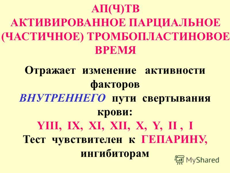 АП(Ч)ТВ АКТИВИРОВАННОЕ ПАРЦИАЛЬНОЕ (ЧАСТИЧНОЕ) ТРОМБОПЛАСТИНОВОЕ ВРЕМЯ Отражает изменение активности факторов ВНУТРЕННЕГО пути свертывания крови: YIII, IX, XI, XII, X, Y, II, I Тест чувствителен к ГЕПАРИНУ, ингибиторам