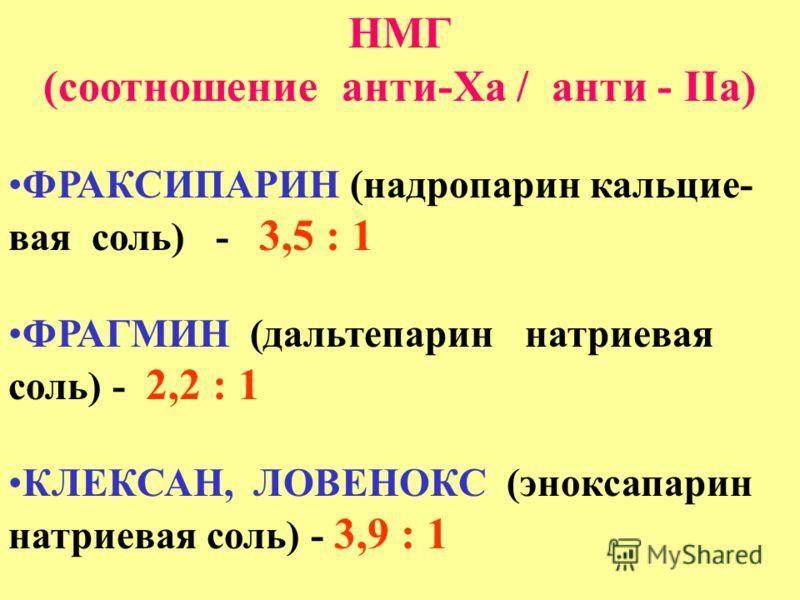 НМГ (соотношение анти-Ха / анти - IIа) ФРАКСИПАРИН (надропарин кальцие- вая соль) - 3,5 : 1 ФРАГМИН (дальтепарин натриевая соль) - 2,2 : 1 КЛЕКСАН, ЛОВЕНОКС (эноксапарин натриевая соль) - 3,9 : 1