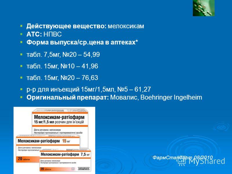 Мелоксикам-ратиофарм: Свойства препарата Действующее вещество: мелоксикам АТС: НПВС Форма выпуска/ср.цена в аптеках* табл. 7,5мг, 20 – 54,99 табл. 15мг, 10 – 41,96 табл. 15мг, 20 – 76,63 р-р для инъекций 15мг/1,5мл, 5 – 61,27 Оригинальный препарат: М
