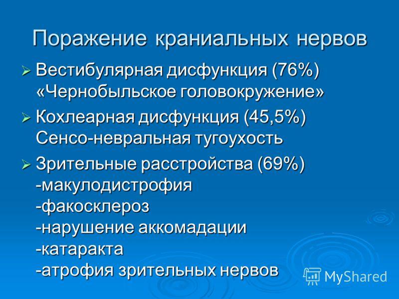 Поражение краниальных нервов Вестибулярная дисфункция (76%) «Чернобыльское головокружение» Вестибулярная дисфункция (76%) «Чернобыльское головокружение» Кохлеарная дисфункция (45,5%) Сенсо-невральная тугоухость Кохлеарная дисфункция (45,5%) Сенсо-нев