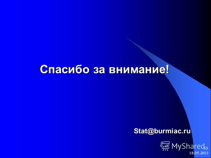 18.05.2013 33 Спасибо за внимание! Stat@burmiac.ru