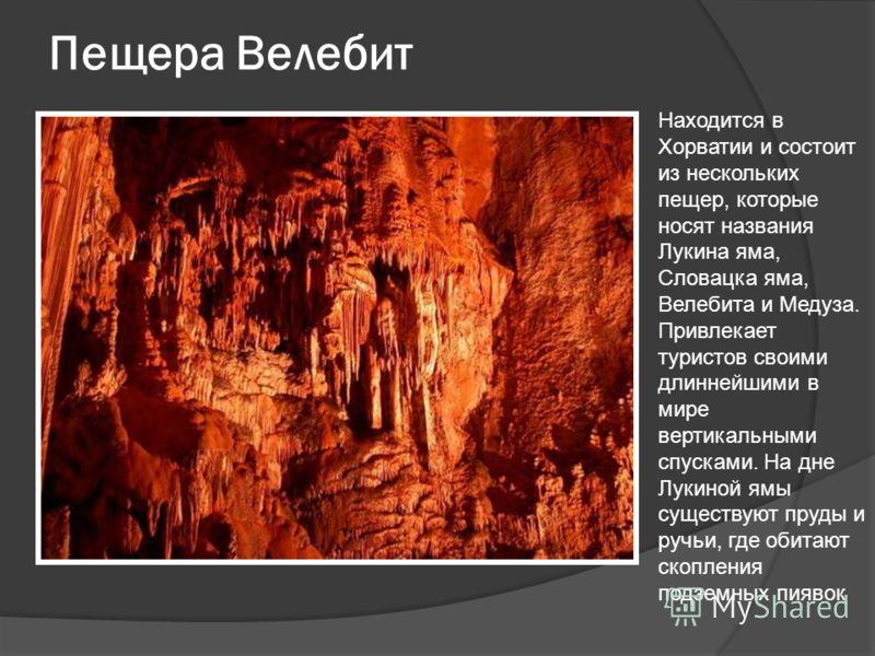 Пещера Велебит Находится в Хорватии и состоит из нескольких пещер, которые носят названия Лукина яма, Словацка яма, Велебита и Медуза. Привлекает туристов своими длиннейшими в мире вертикальными спусками. На дне Лукиной ямы существуют пруды и ручьи,