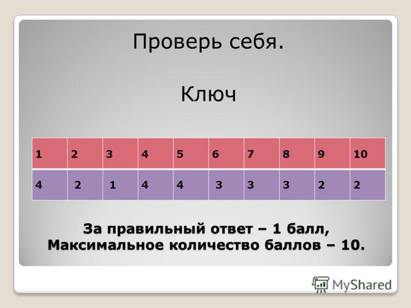 За правильный ответ – 1 балл, Максимальное количество баллов – 10. Проверь себя. Ключ 12345678910 4 2 144 33322