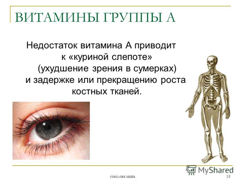 соколова маша 18 Недостаток витамина А приводит к «куриной слепоте» (ухудшение зрения в сумерках) и задержке или прекращению роста костных тканей. ВИТАМИНЫ ГРУППЫ А