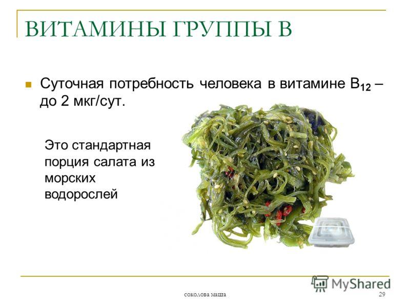 соколова маша 29 ВИТАМИНЫ ГРУППЫ В Суточная потребность человека в витамине В 12 – до 2 мкг/сут. Это стандартная порция салата из морских водорослей