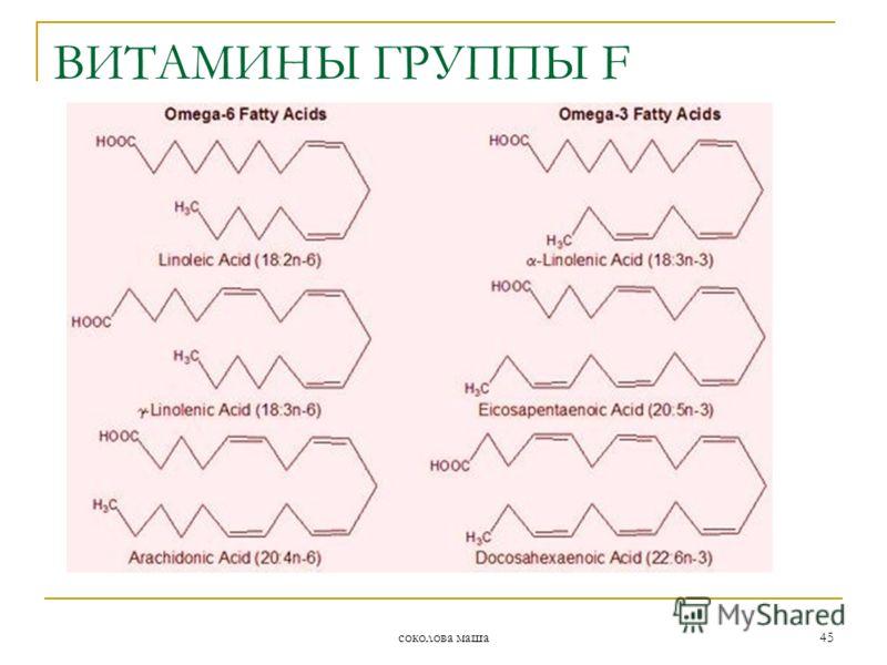 соколова маша 45 ВИТАМИНЫ ГРУППЫ F